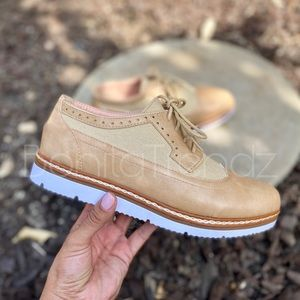 Vegan Leather Camel Wing Tip White Sole Oxfords